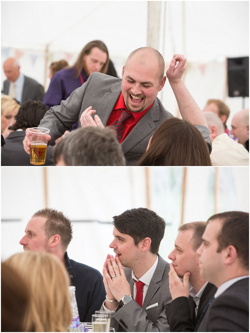 Wedding Guests in Marquee in Eccleston | Wedding Photography