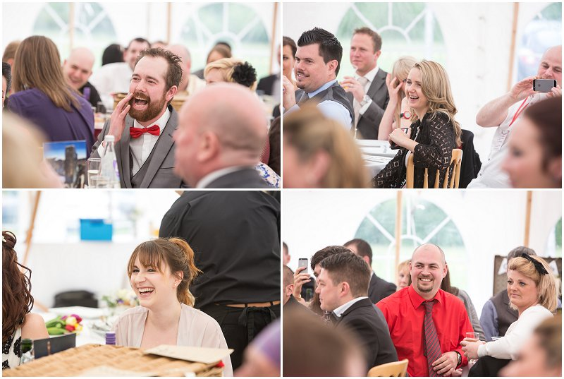 Wedding Guests laughing during speeches Lancashire