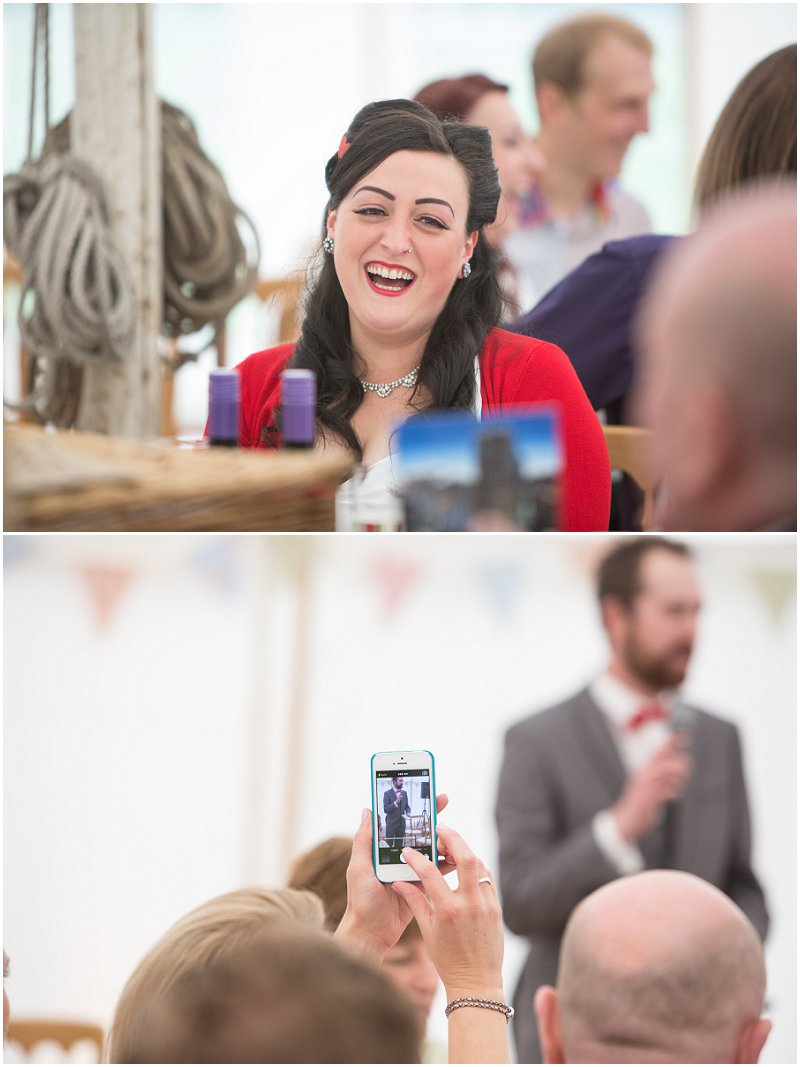 Speeches at a Rock and Roll Marquee Wedding