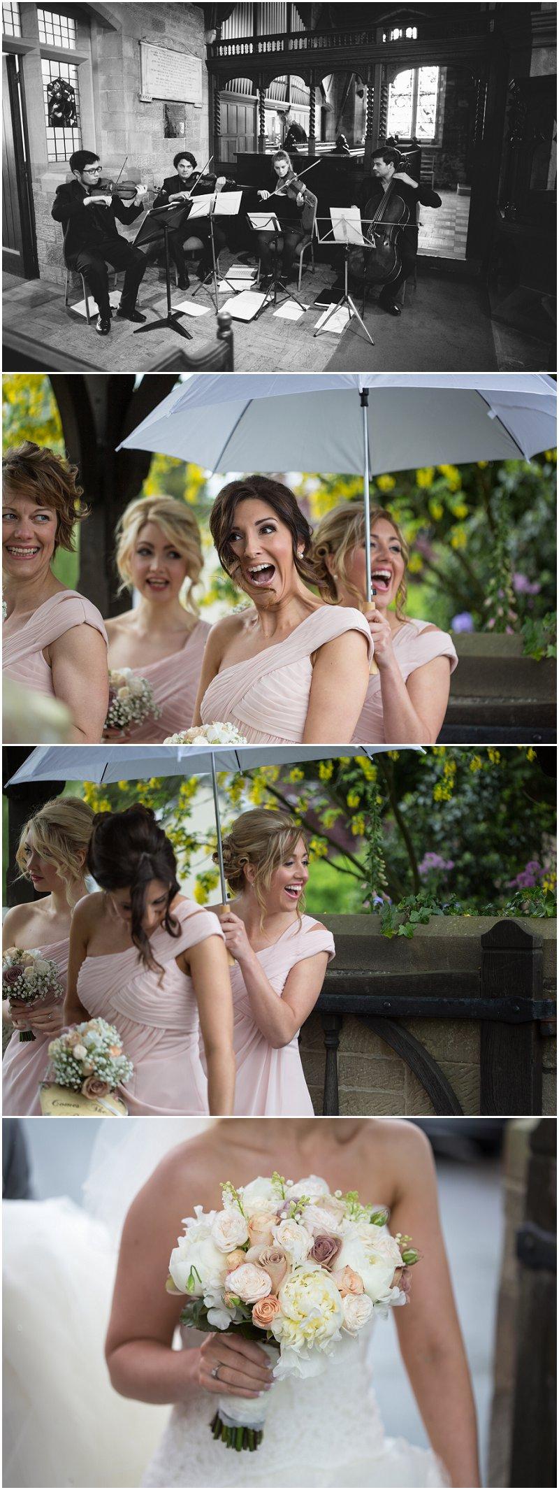 String Quartet and Bridesmaids greet bride at church