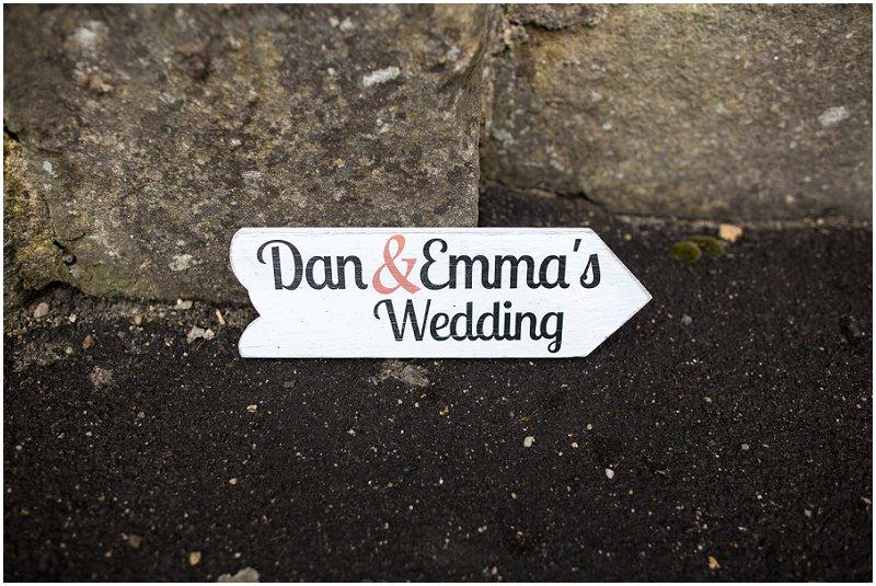 Dan & Emmas wedding sign at the church, Clitheroe