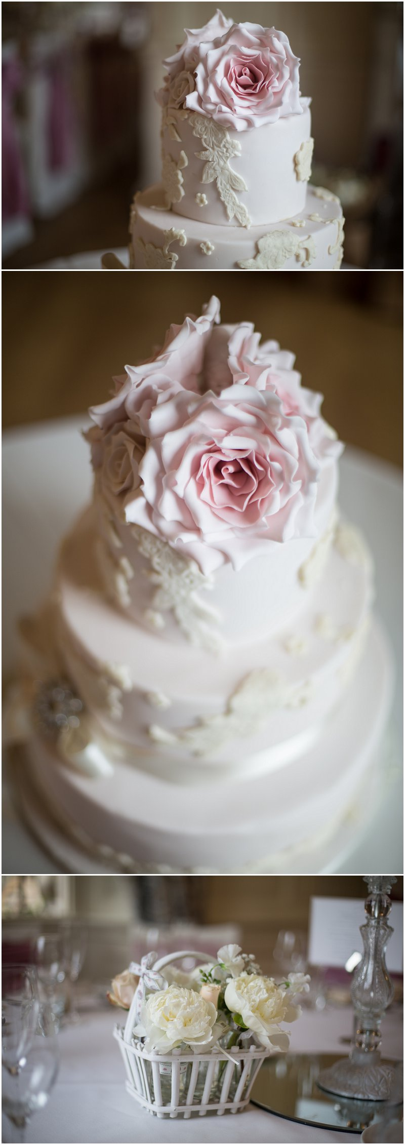 Beautiful Wedding Cake at Eaves Hall Lancashire