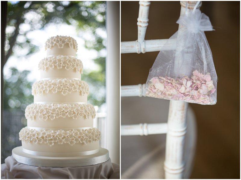 Beautiful white wedding cake and confetti
