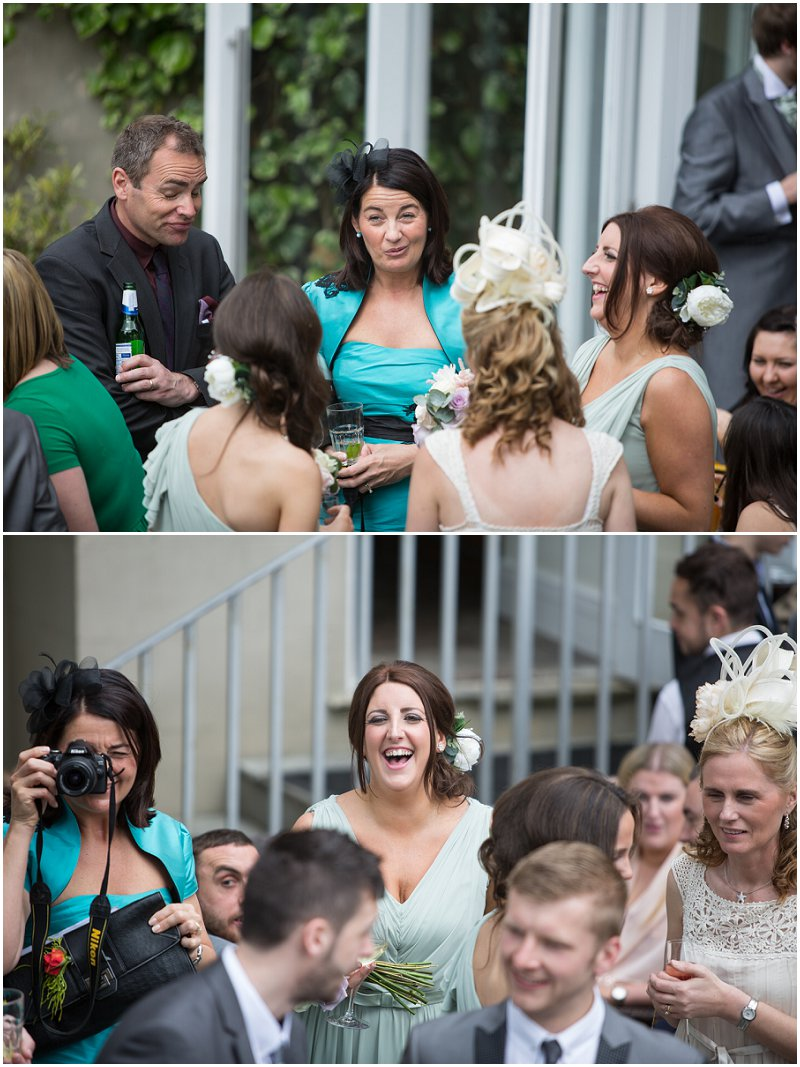 Guests laughing at West Tower wedding venue
