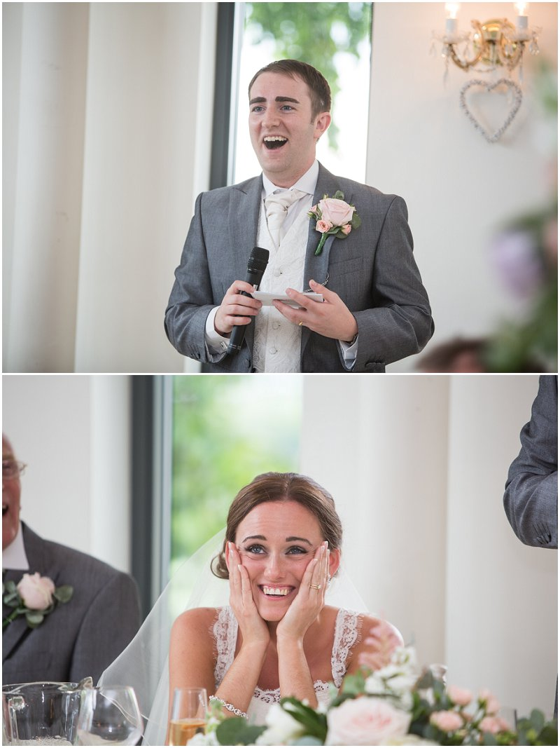 Laughter during speeches at West Tower wedding
