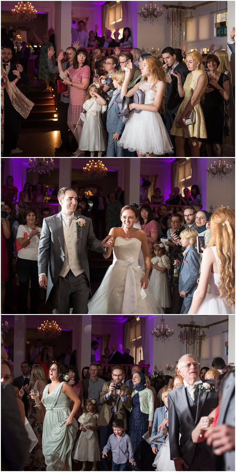 Bride and groom announced onto dance floor West Tower