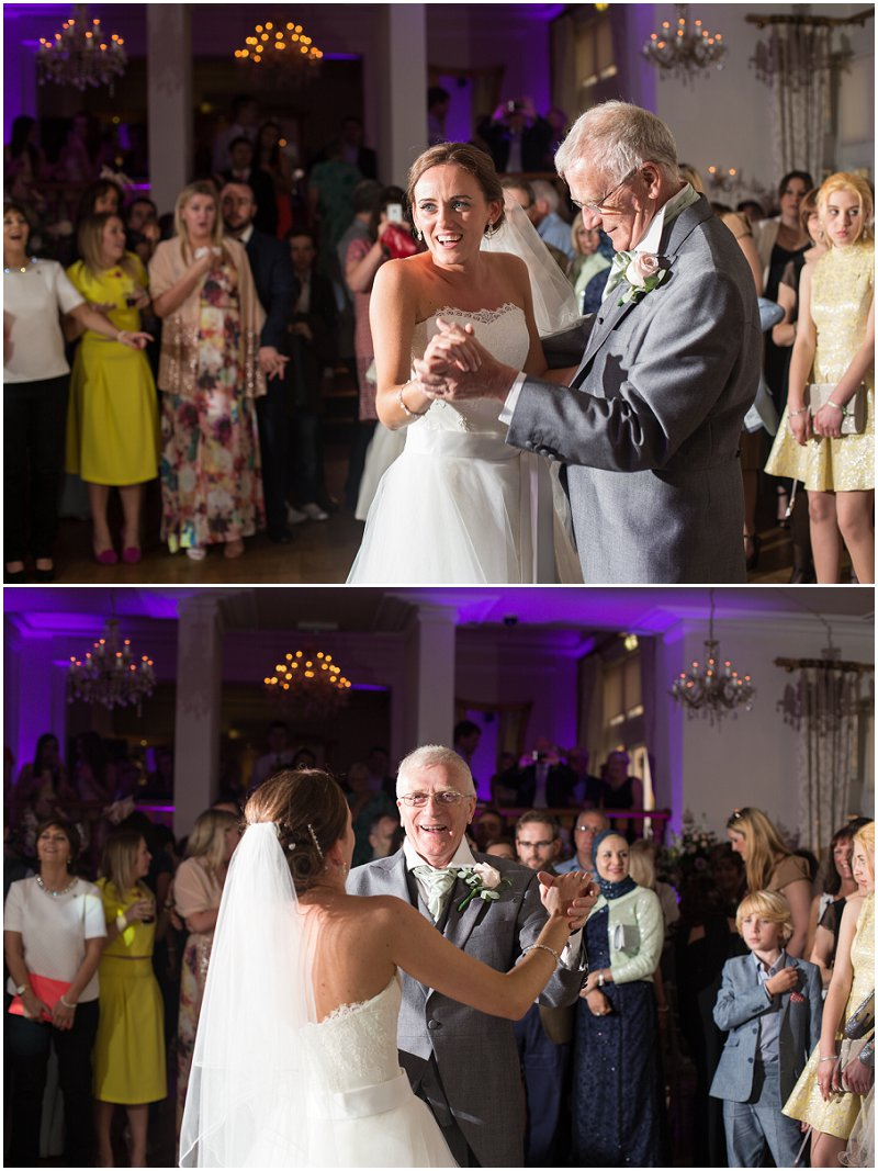 Father of the bride dance at West Tower Lancashire Wedding Venue