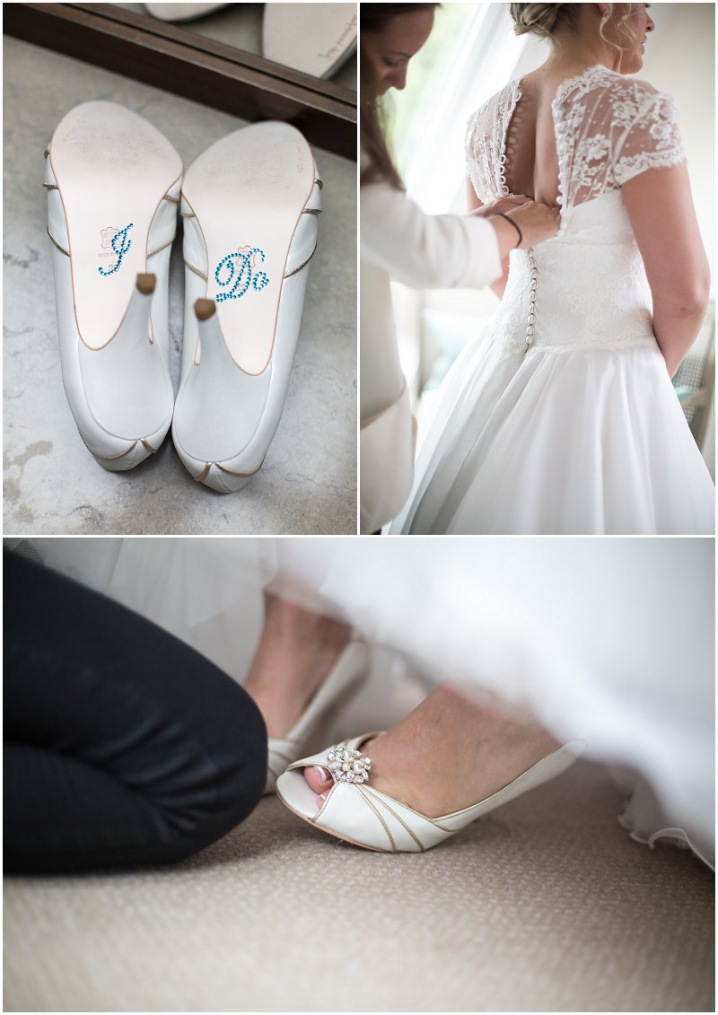 Beautiful bride getting into her dress and shoes on wedding morning