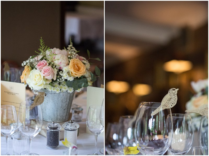Stunning table decorations at wedding at Linthwaite House Hotel
