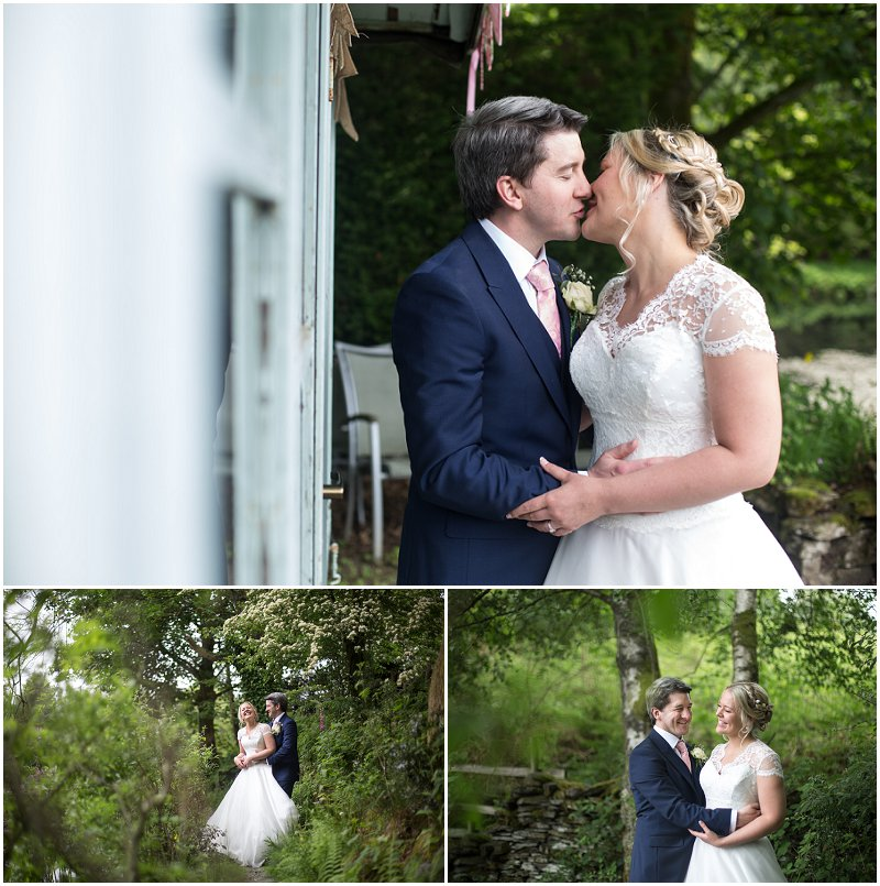 Bride and groom during wedding pictures at Linthwaite House Hotel