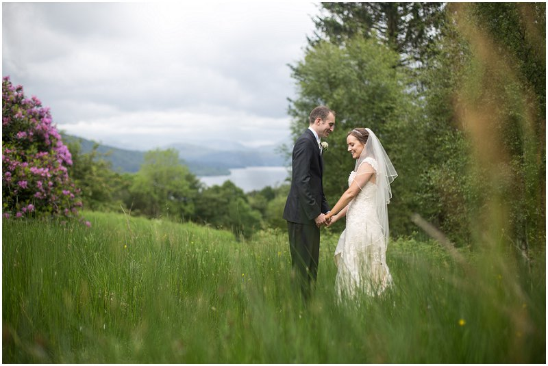 Beautiful Bride and Groom at Linthwaite House Hotel Wedding Photography Cumbria