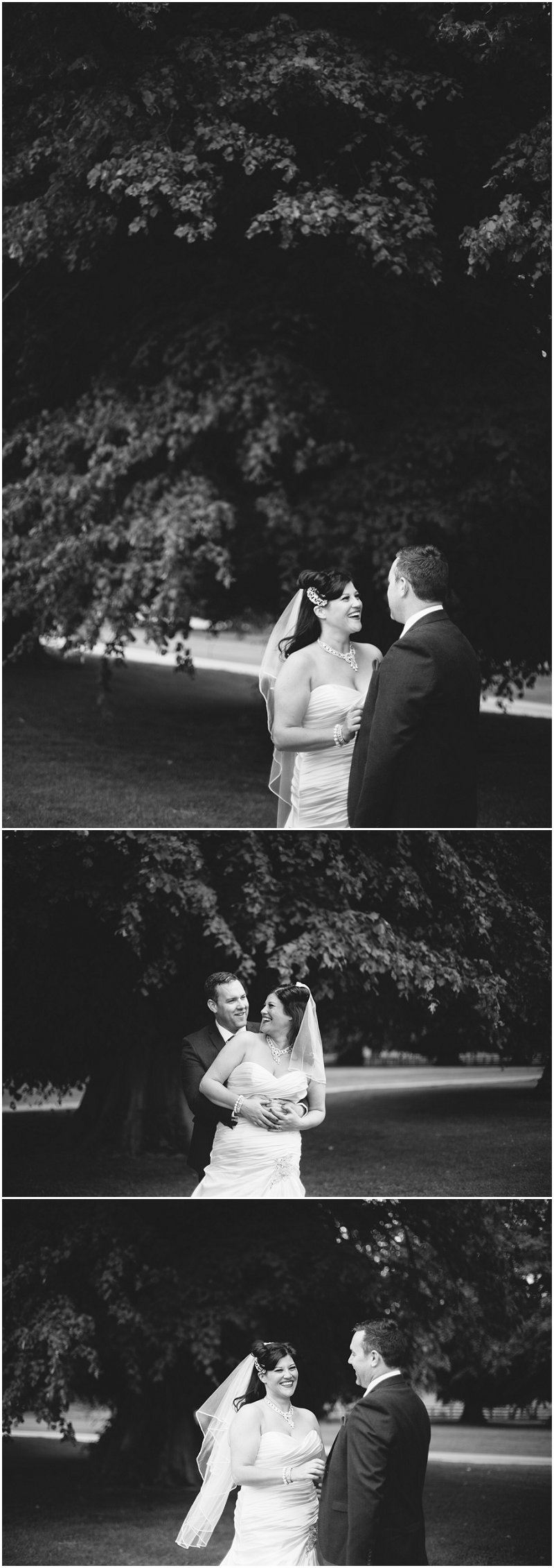 Beautiful black and white pictures of bride and groom at Soughton Hall wedding
