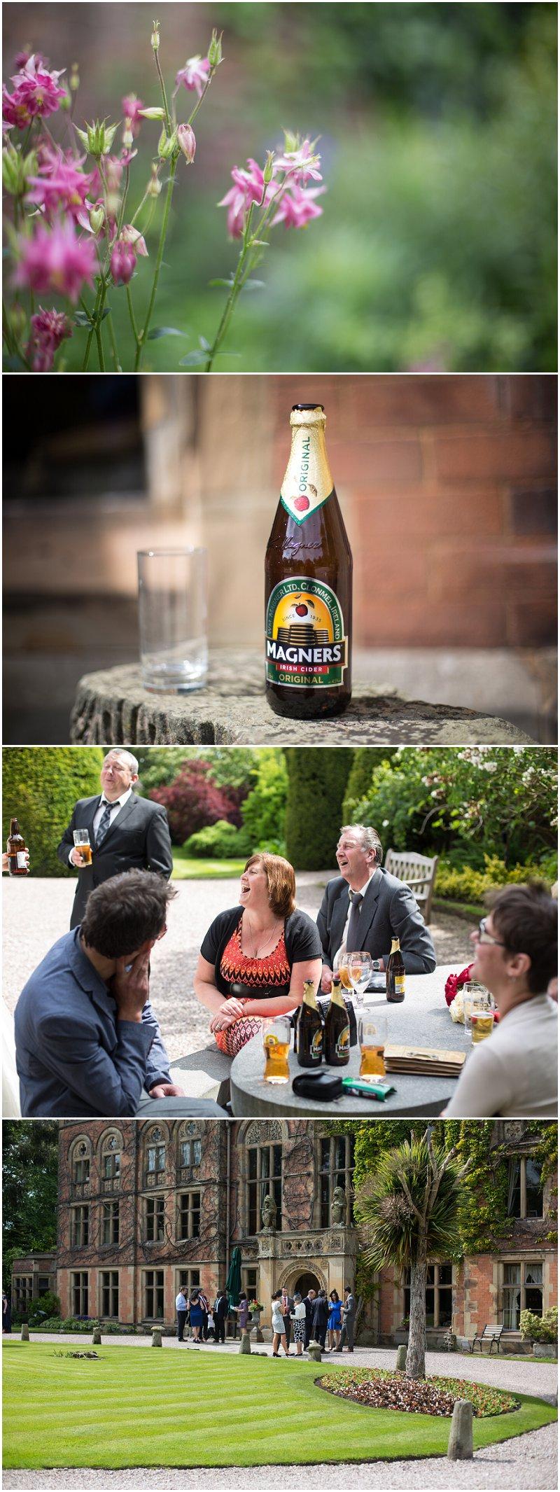 Beer, flowers, wedding reception in the gardens of wedding venue