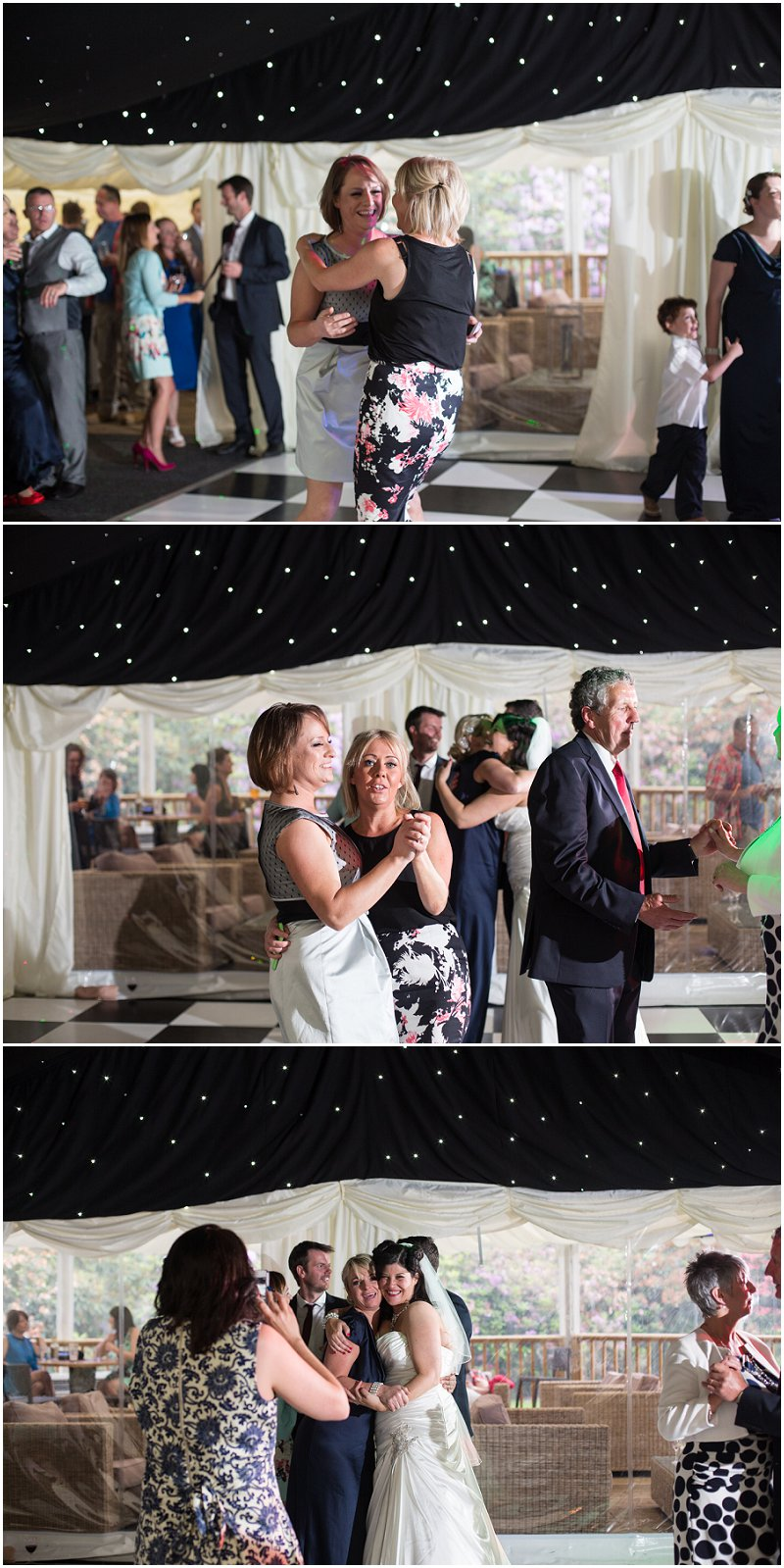 Guests dancing at Soughton Hall wedding evening reception