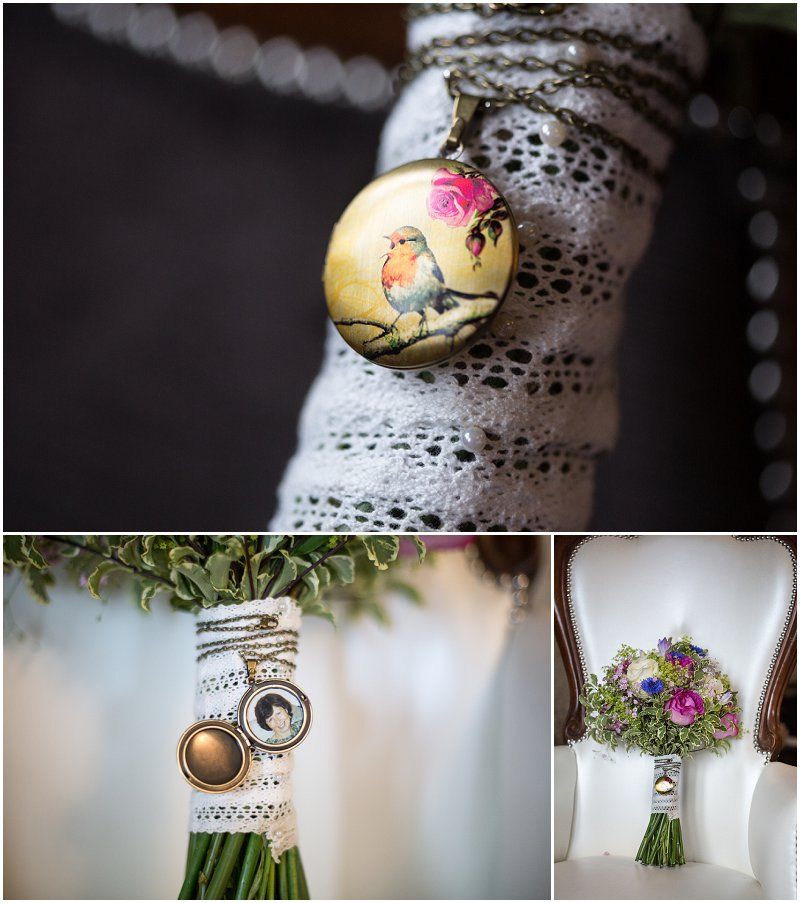 Beautiful Wedding bouquet locket with mother's picture inside