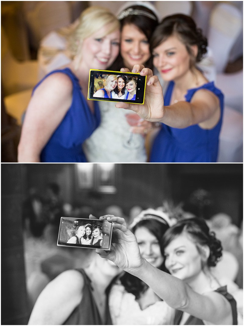 Bride and Bridesmaids take a 'selfie' at Abbey House Hotel