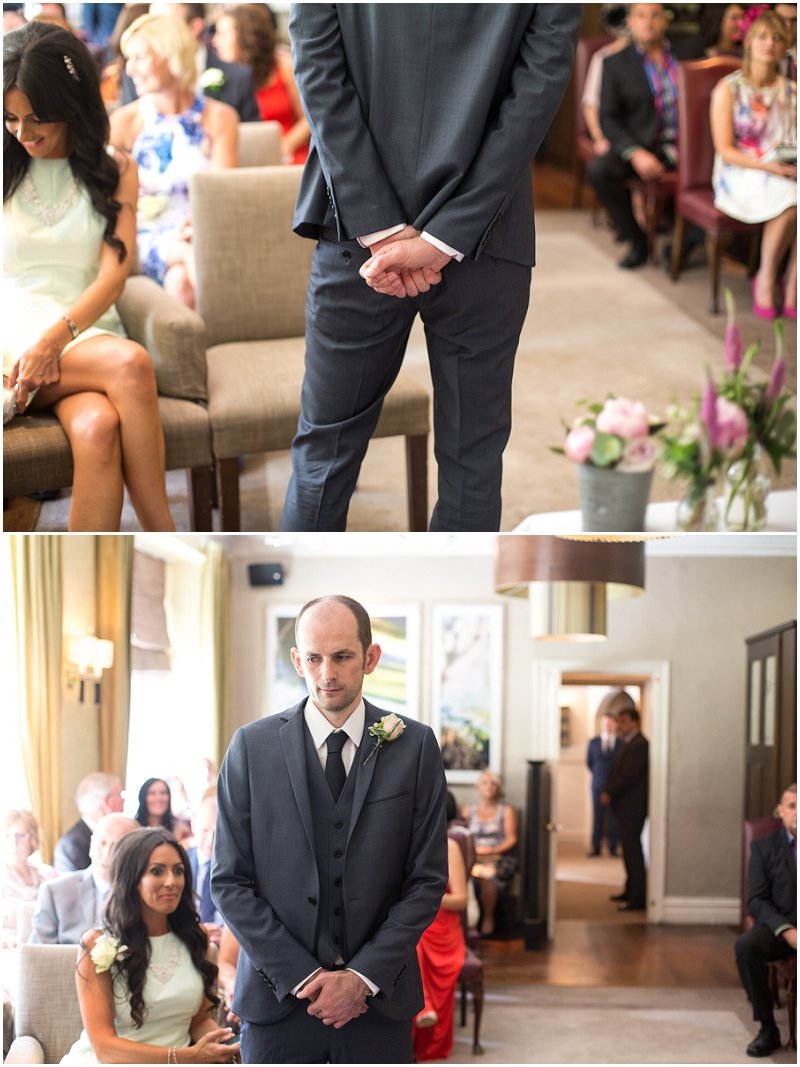 Groom nervously awaits his bride at Linthwaite House Ceremony