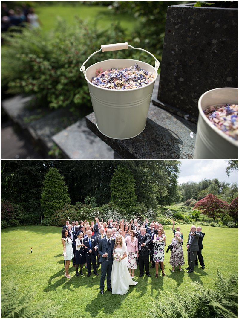Beautiful group shot with confetti at Linthwaite House Hotel, Cumbria Wedding Photographer