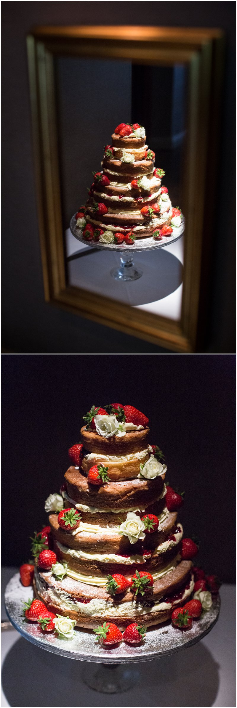Wedding cake with Strawberries at Linthwaite House Hotel, Cumbria