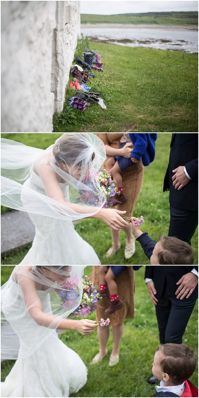 Shoes outside the Church and Boy Gives Bride Flowers at Anglesey Wedding
