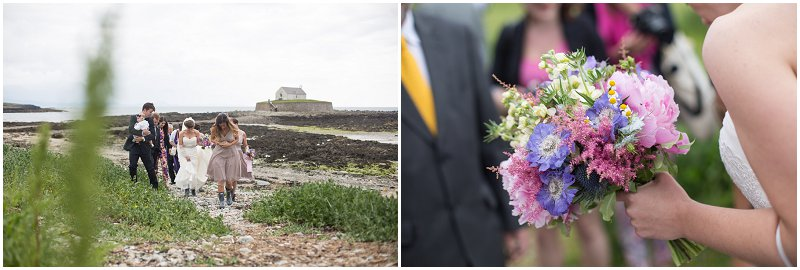 Bridal Party coming back after wedding ceremony in Anglesey Wales Wedding Photographer