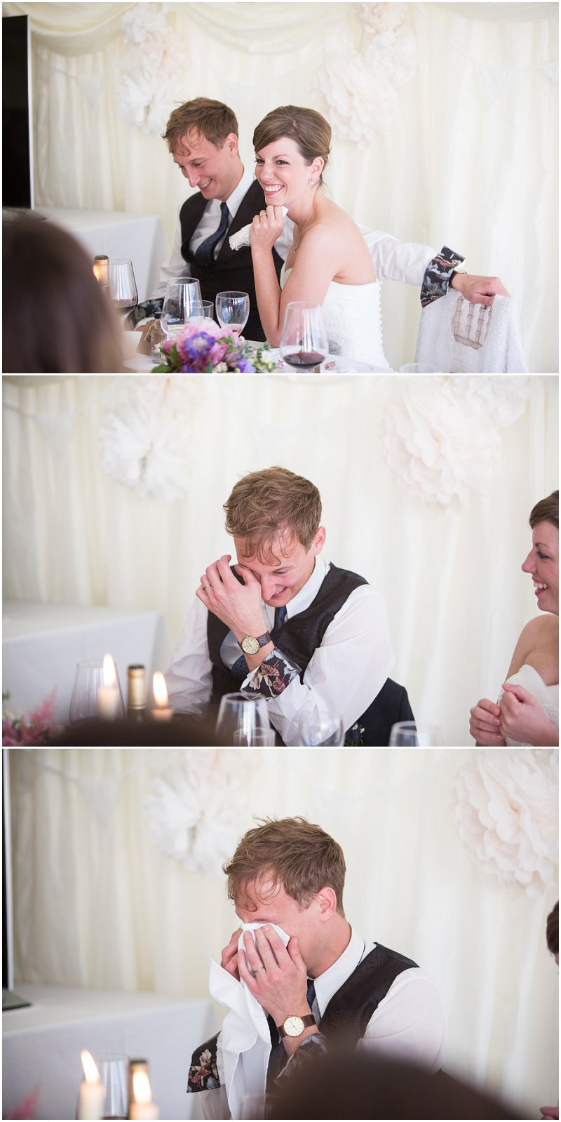 Groom gets emotional during speeches in Anglesey Wedding