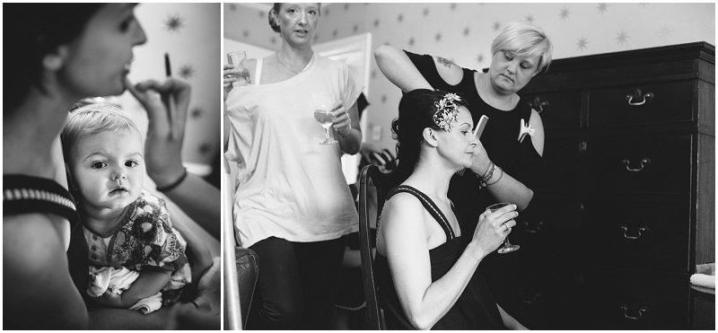 Black and White shots of Portmeirion Bride Prep wedding photography