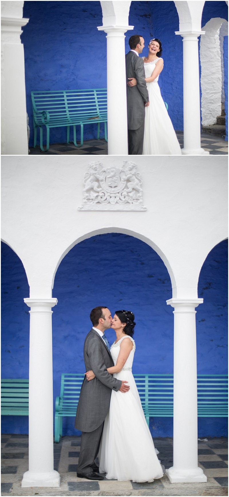 Bride and groom portraits below portmeirion hotel, wales