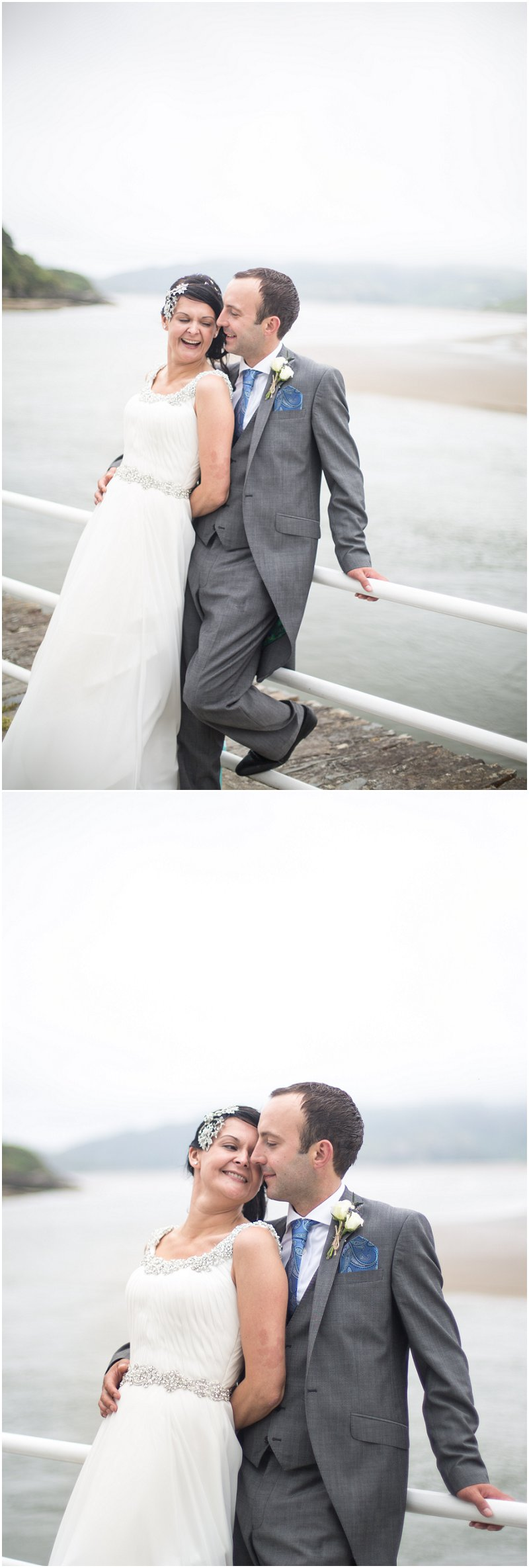 Bride and Groom having fun during portrait session, Portmeirion Wedding Photographer