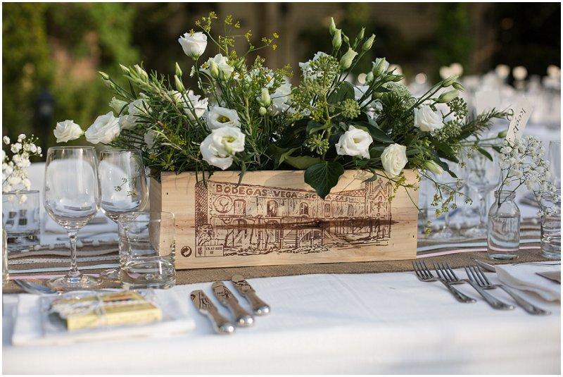 Wine Box centerpiece at La Villa Wedding