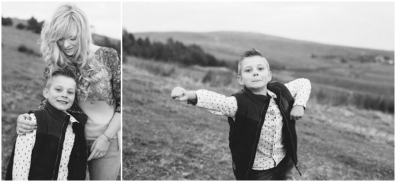 Black and White shots of Mother and Son at Rivington Park Lancashire