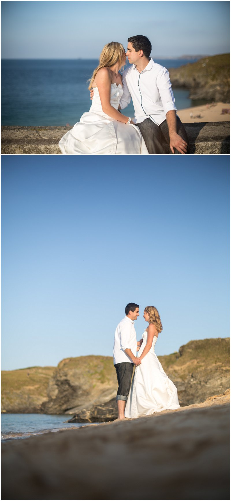 Cornwall bride and Groom at Mother Ivey's Bay