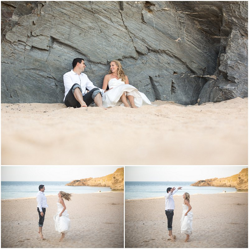 Fun games on the beach during wedding photography shoot Cornwall