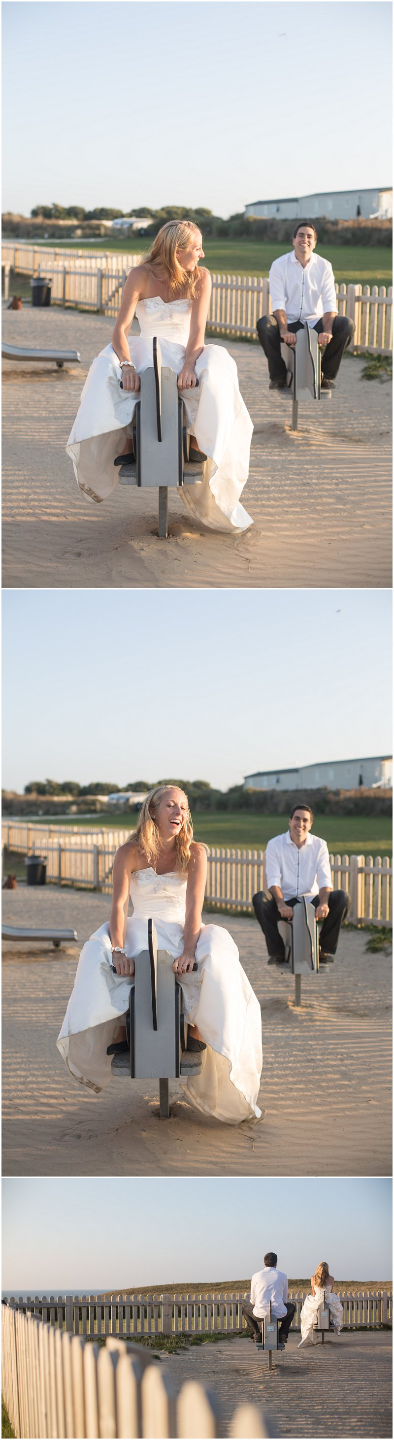 Riding the kids playground toys during wedding photography shoot