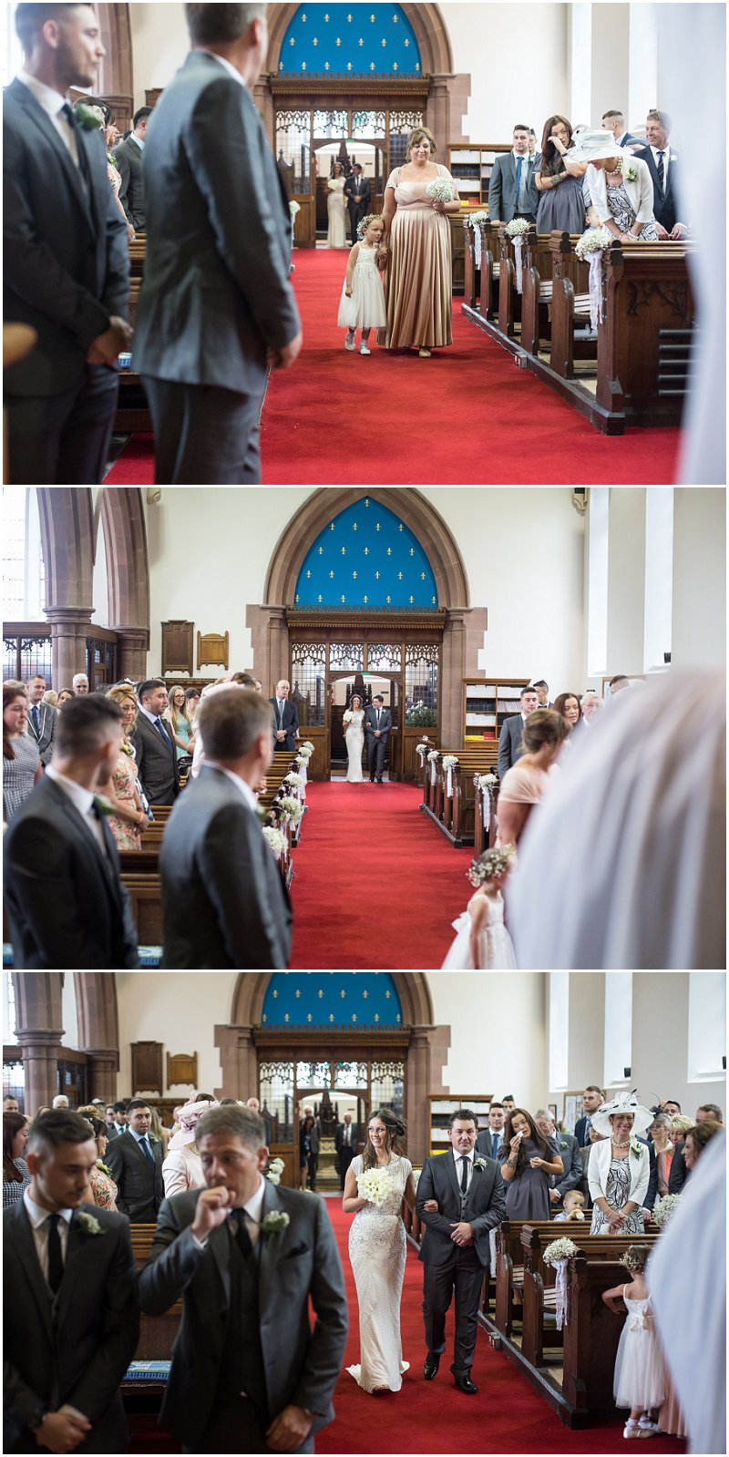 Bride walking down aisle in Lancashire