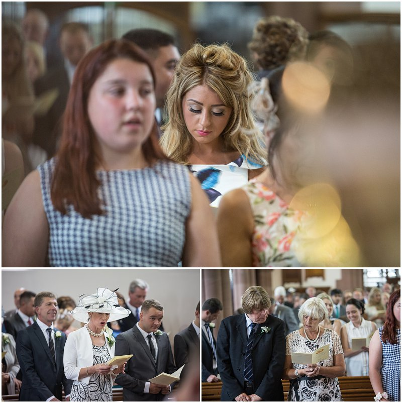 Guests singing during wedding ceremony, Lancashire