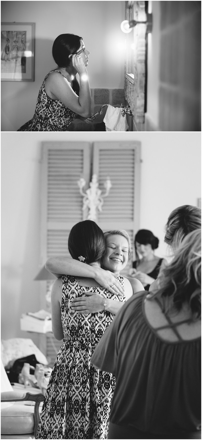 Bride applying makeup at La Villa, Piedmont Wedding Photographer