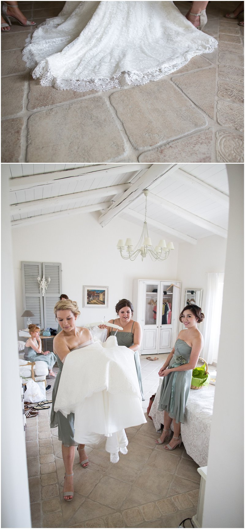 Bride gets ready to get into wedding dress