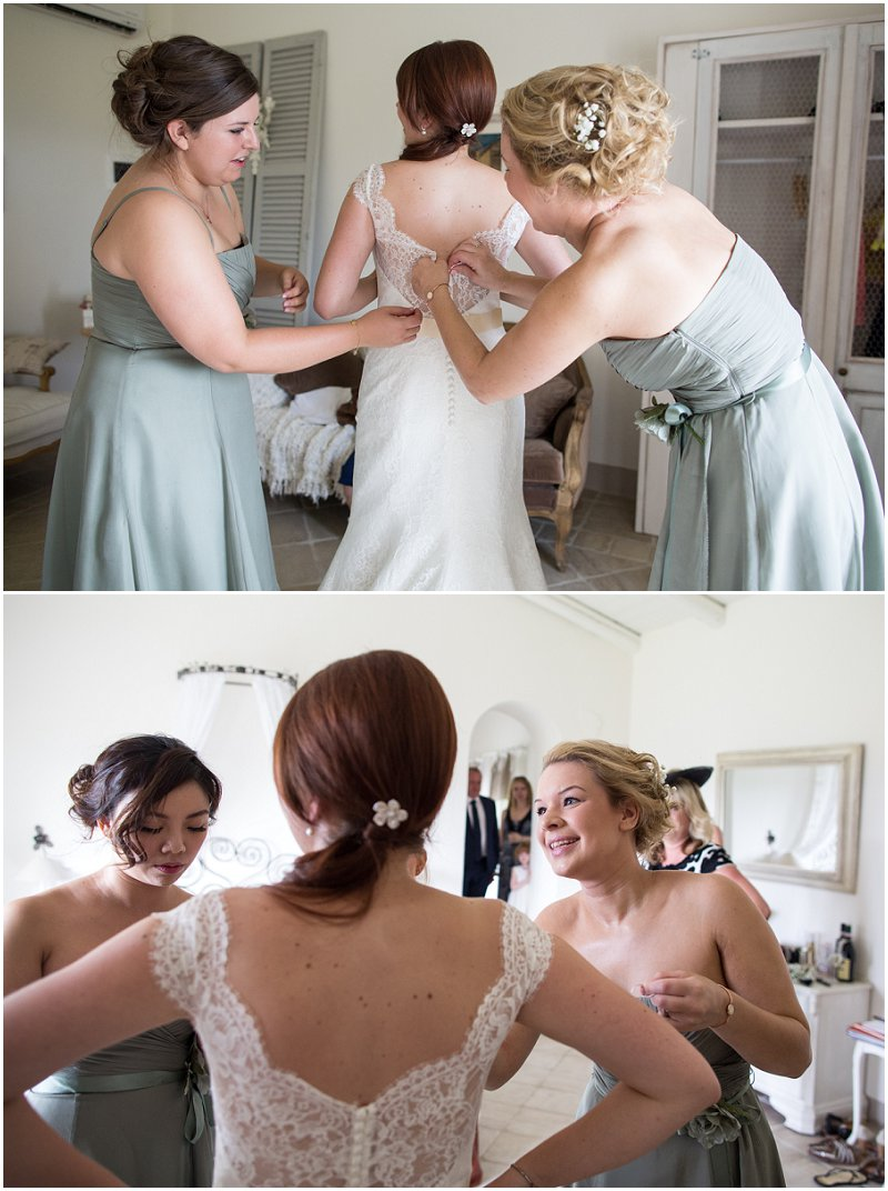 Bride gets into lace wedding dress at Piedmont Italy Wedding