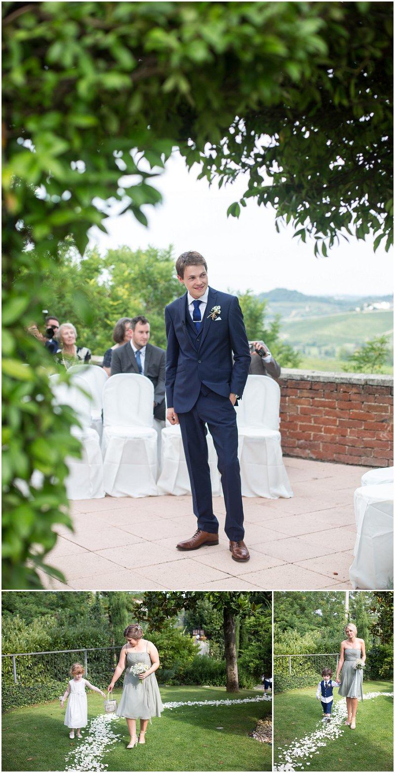Bridesmaids arrive during wedding ceremony at La Villa Piedmont