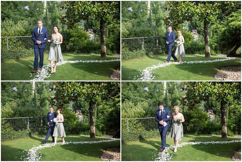 Wedding party arrive during ceremony at La Villa, Piedmont