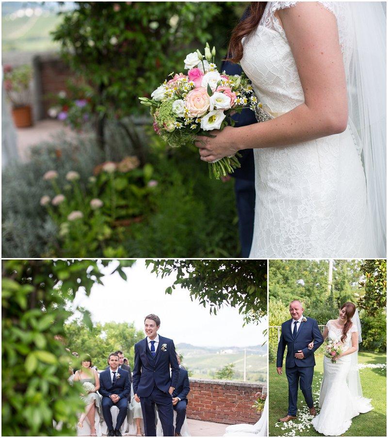 Bride arrives during ceremony at La Villa Piedmont Italy