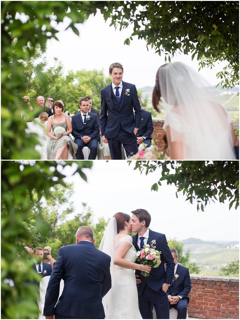 Groom sees his bride for the first time during ceremony