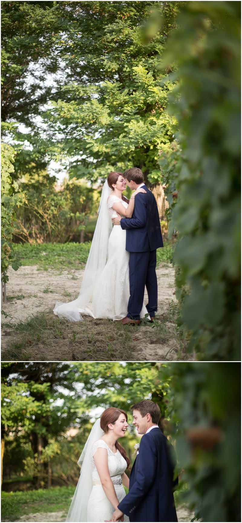 Bride and groom during portrait shoot in Vineyard, Italy