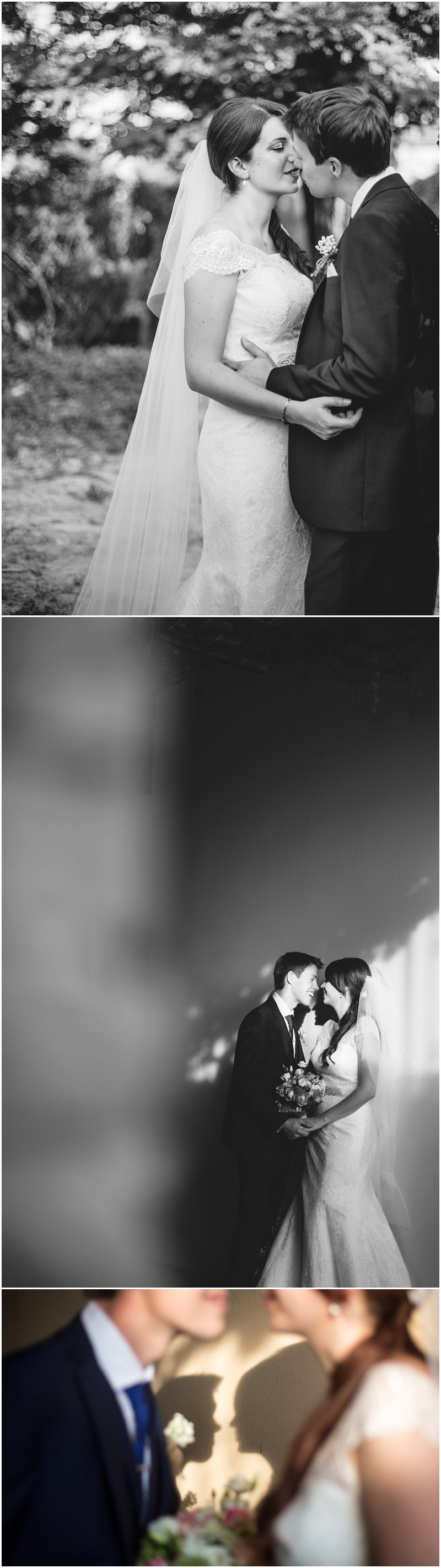 Black and white bride and groom portraits Italy