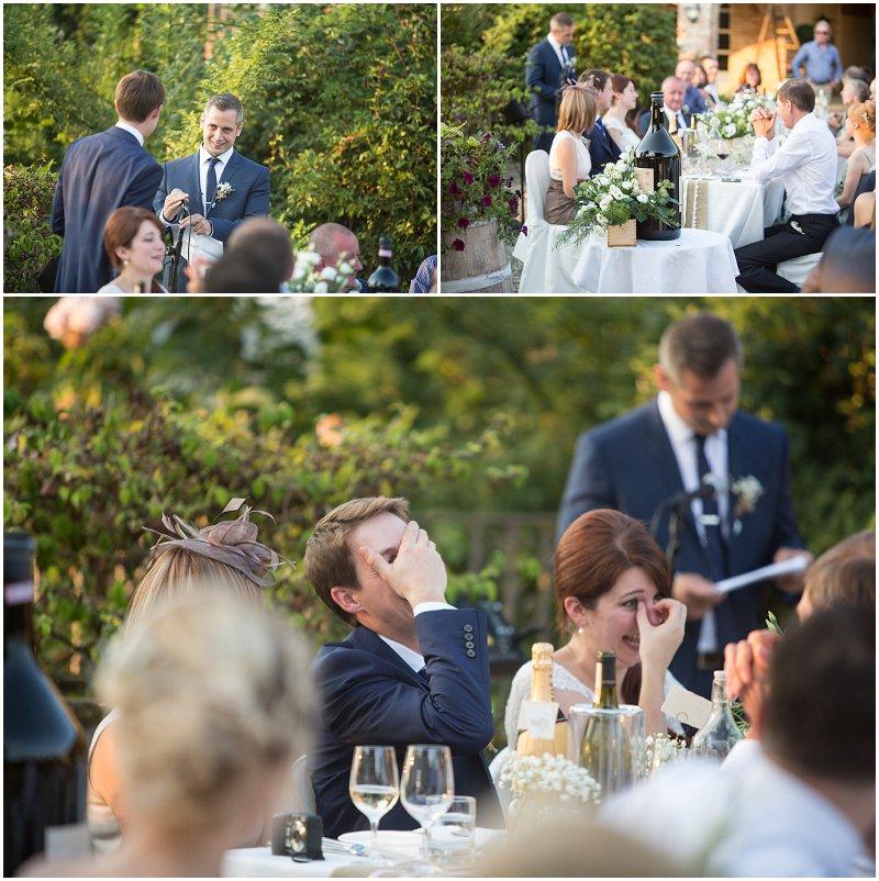 Best man's speech during wedding reception in Italy