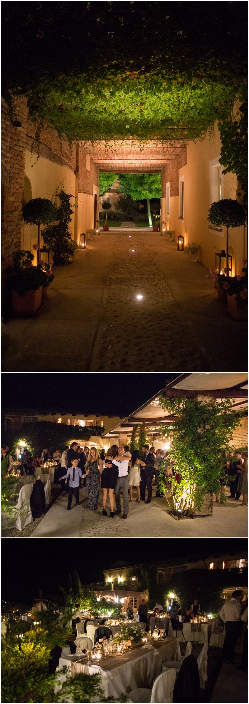La Villa evening reception by candlelight in Italy