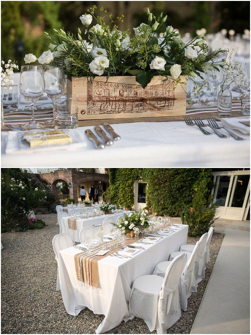 Tables at La Villa wedding reception Destination Wedding Photographer