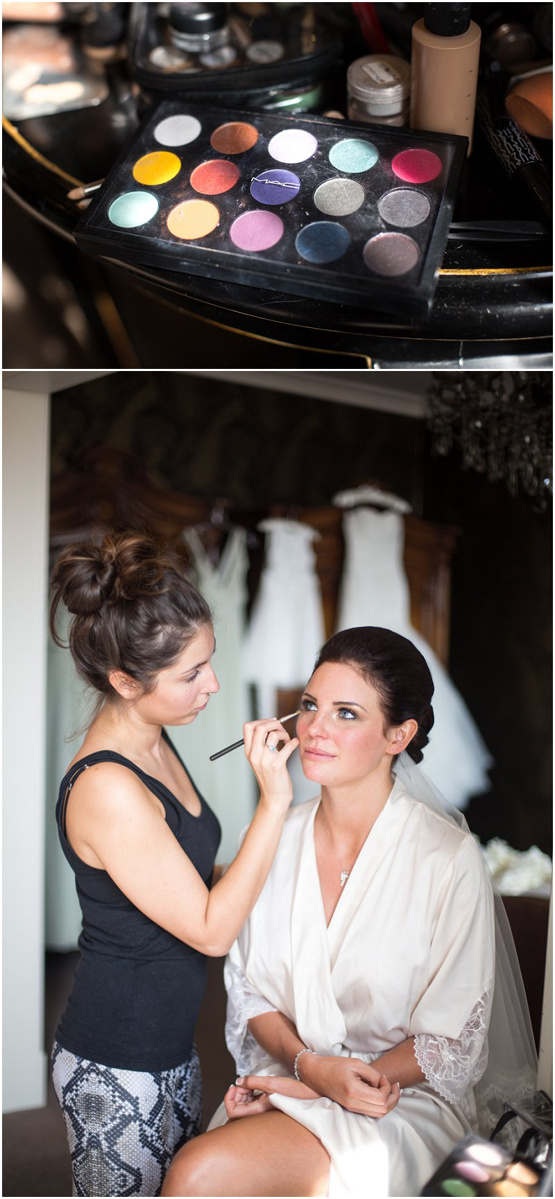 Mac Makeup being applied to bride at Eaves Hall Wedding