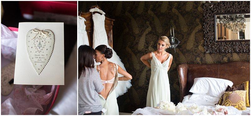 Bridesmaid getting ready for wedding